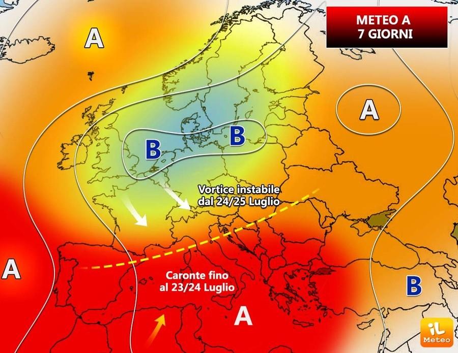 Previsioni meteo per i prossimi sette giorn, da Caronte ai temporali