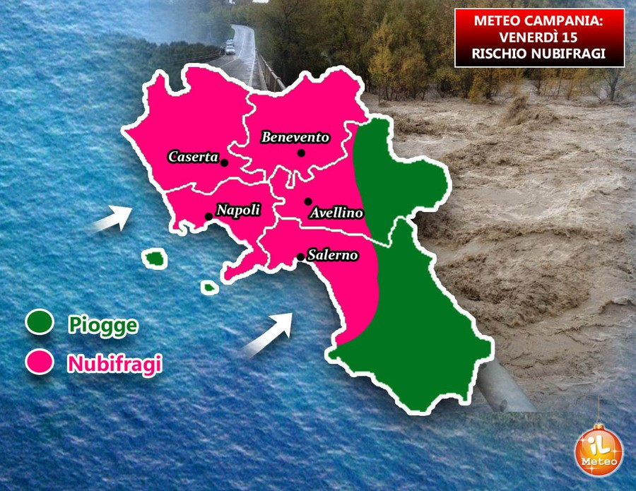 Precipitazioni abbondanti attese in Campania