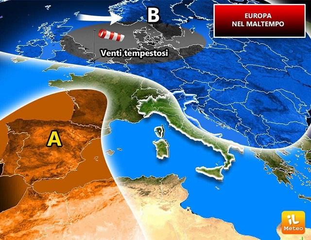 Europa, forti venti spazzano il vecchio continente