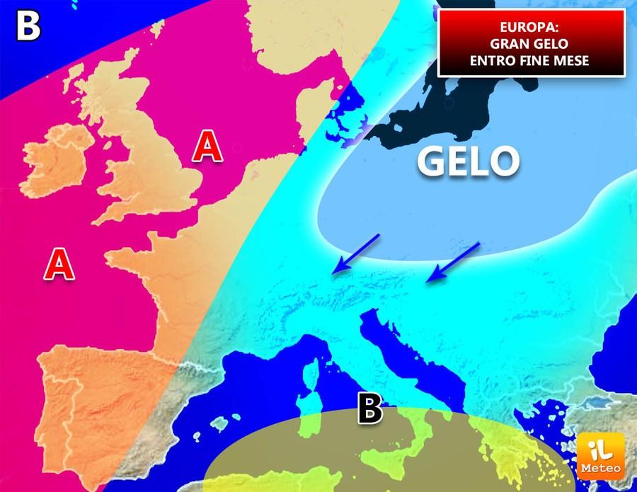 Evoluzione meteo Europa, gran gelo a fine mese?