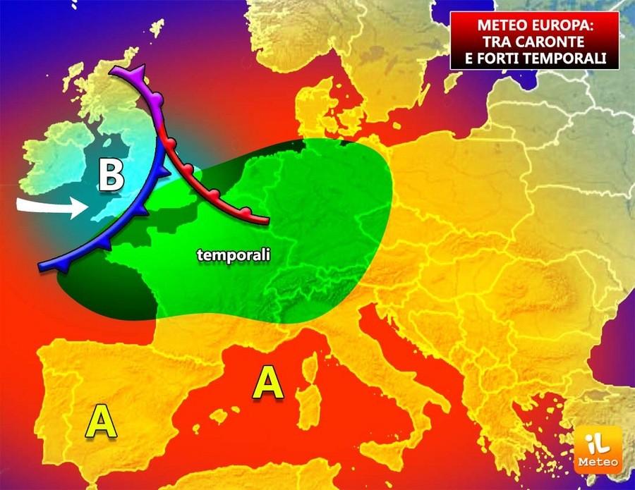 Europa, anticiclone Caronte scatenato