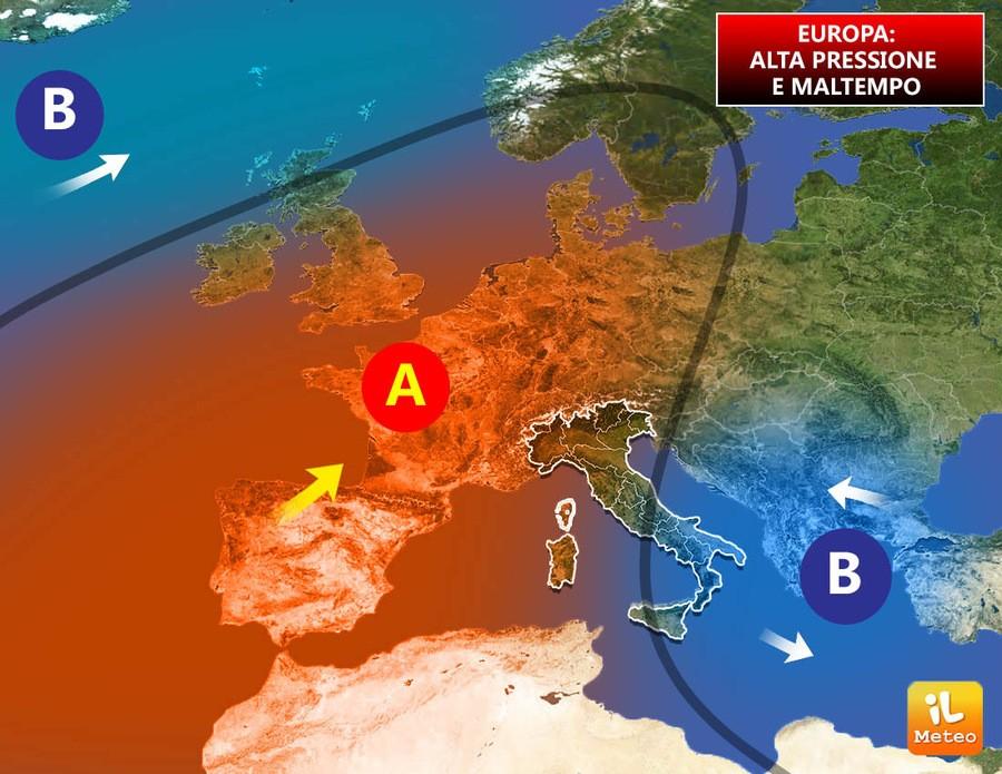 Meteo Europa, il lento ritorno dell'anticiclone