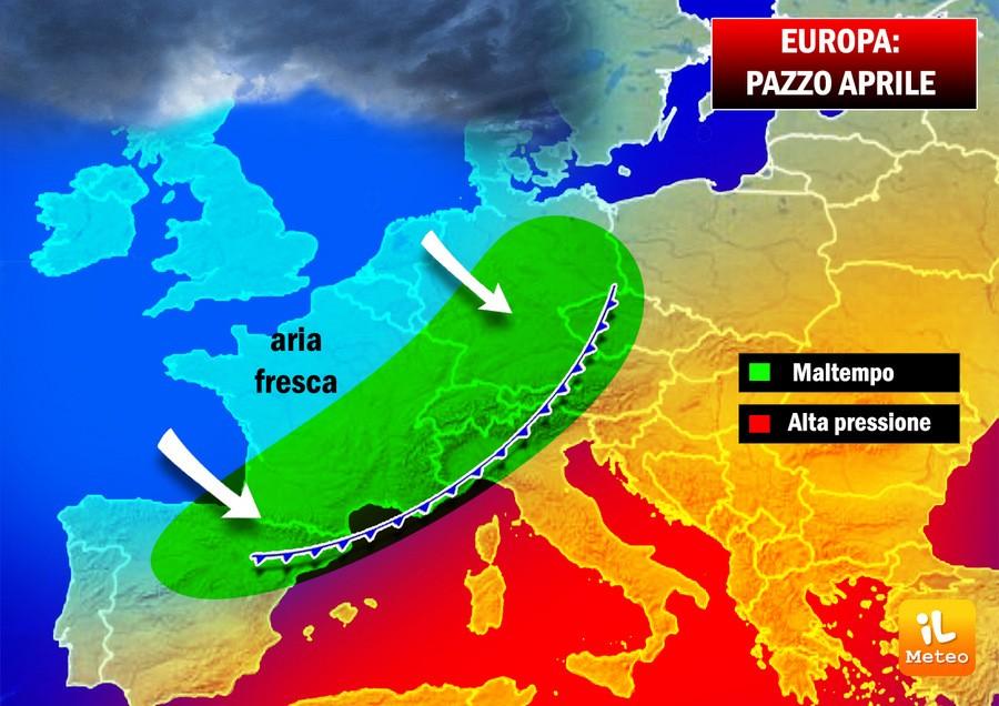 Alta pressione e depressioni fredde sul vecchio continente
