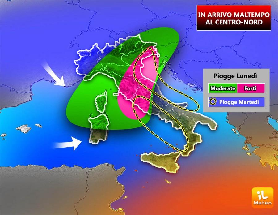 Tanta pioggia in arrivo sull'Italia