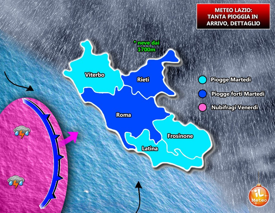 Precipitazioni attese sul Lazio