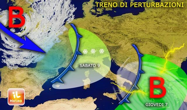 Meteo: treno di perturbazioni sull'Italia