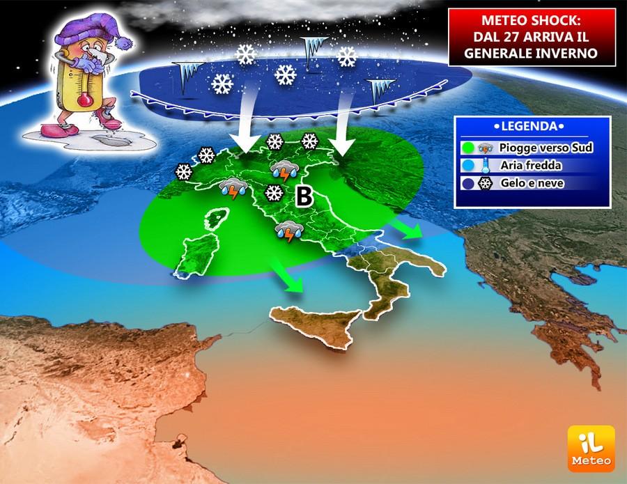 In arrivo maltempo freddo sull'Italia