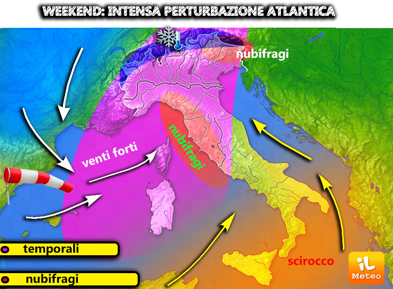 Maltempo Italia: in arrivo precipitazioni intense anche temporalesche e nevicate sulle Alpi