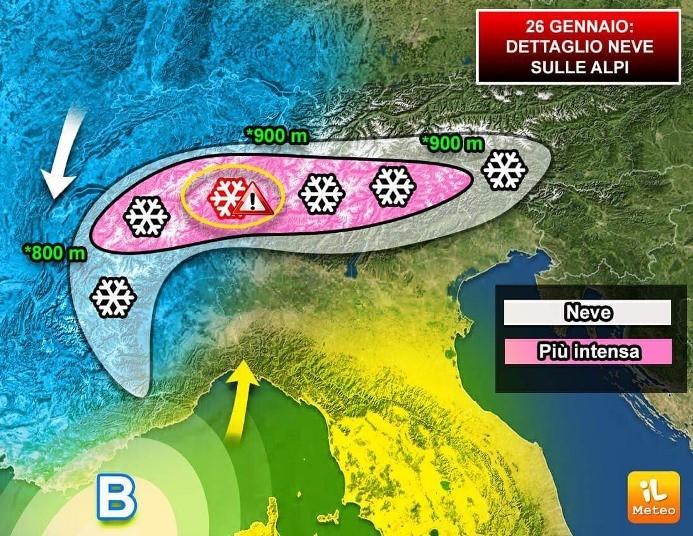 Elaborazione grafica della neve prevista sulle Alpi