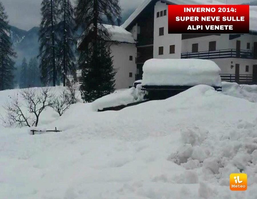 Intense nevicate sulle Alpi orientalidurante l'inverno di 4 anni fa
