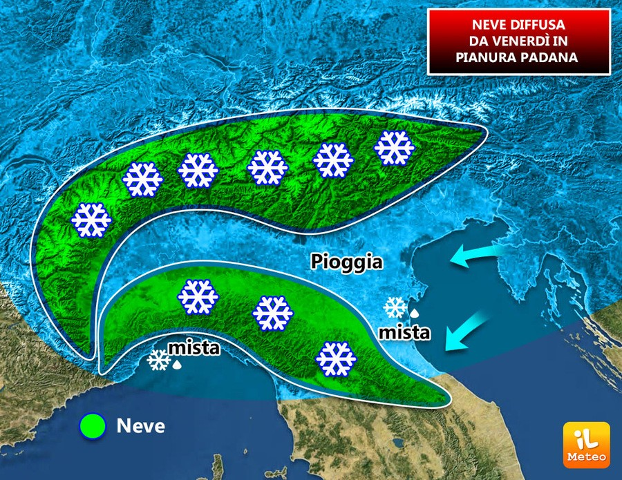 in verde la neve prevista Venerdì sera