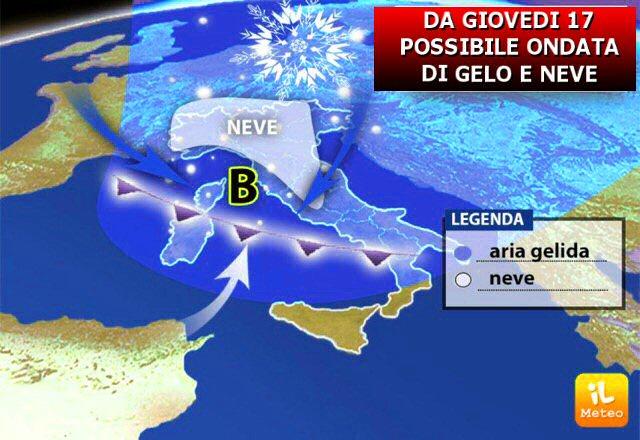 Possibile ondata di neve e gelo a partire da Giovedì 17 Gennaio al Centro Nord
