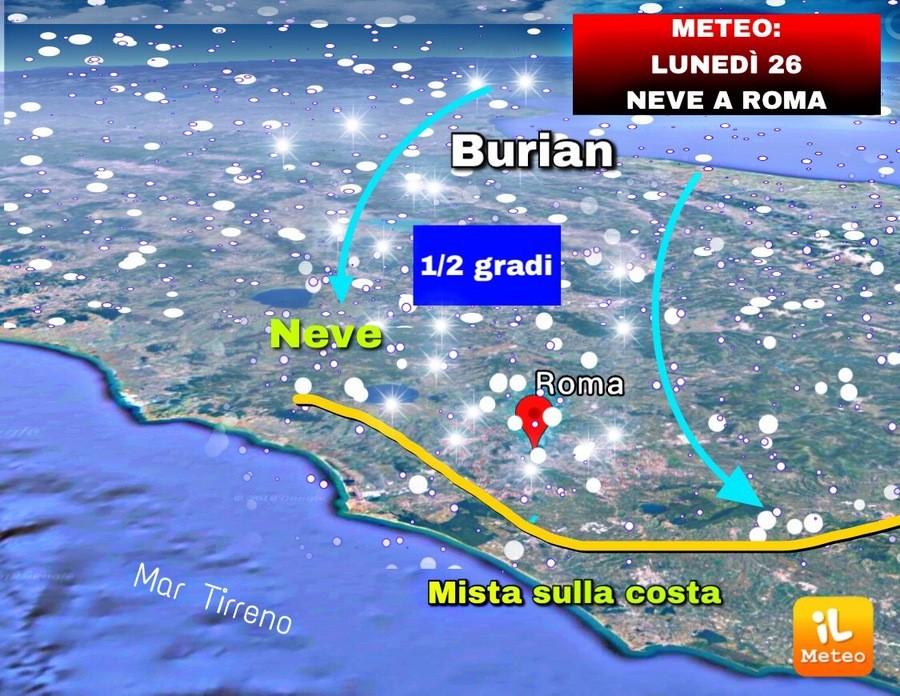 Neve sul Lazio in arrivo tra Domenica e Lunedì