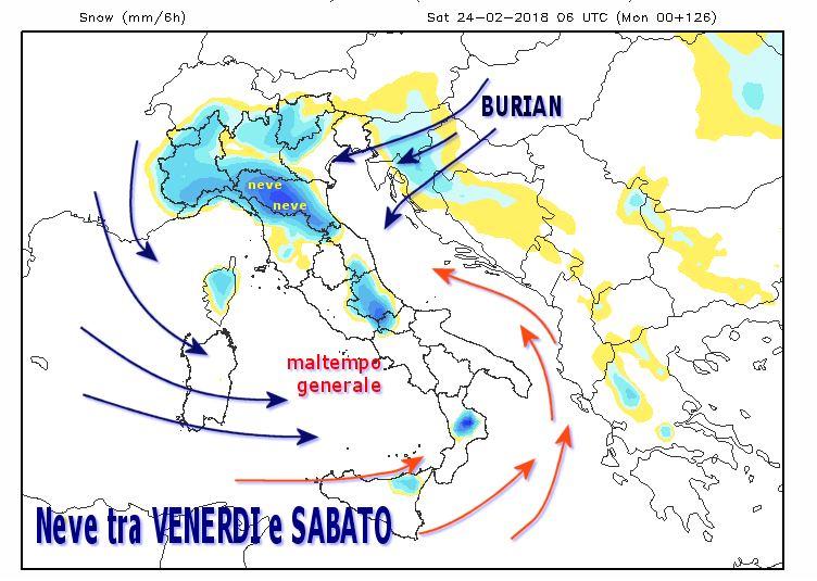 Ciclone mediterraneo con neve Sabato 24 Febbraio 2018
