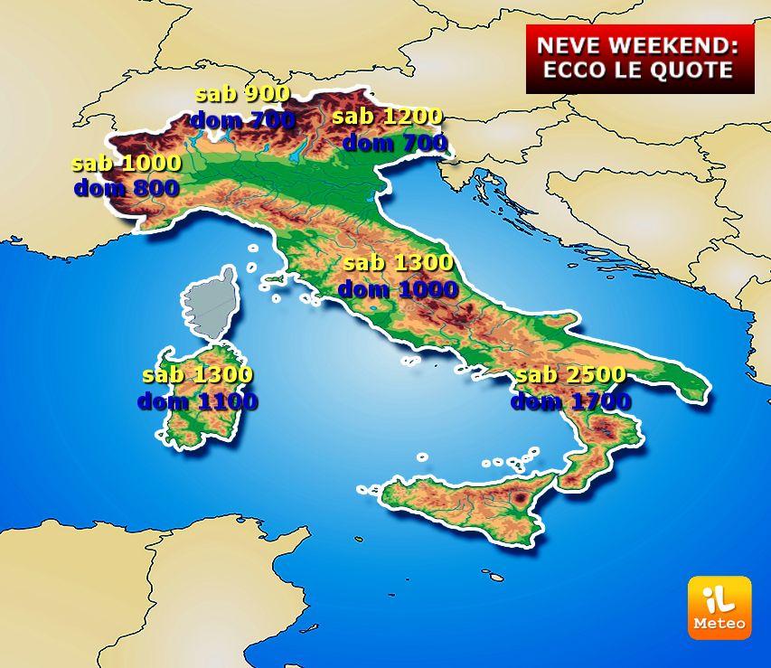 Meteo Cartina Italia.Meteo Italia Dettaglio Neve Attesa Nel Weekend Con Mappa E Cifre Ilmeteo It