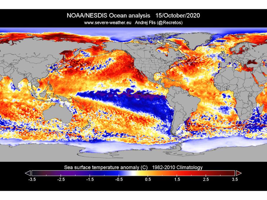 Mappa 2: il raffreddamento delle acque del Pacifico, ecco La Niña