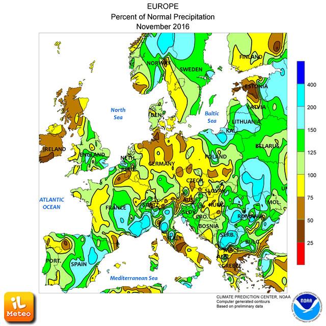 Anomalia delle piogge nel trascorso mese di novembre 2016