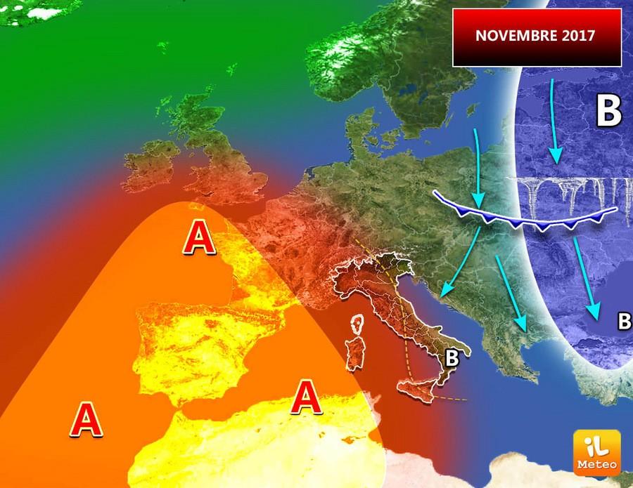 Novembre con incursioni fredde da Oriente?