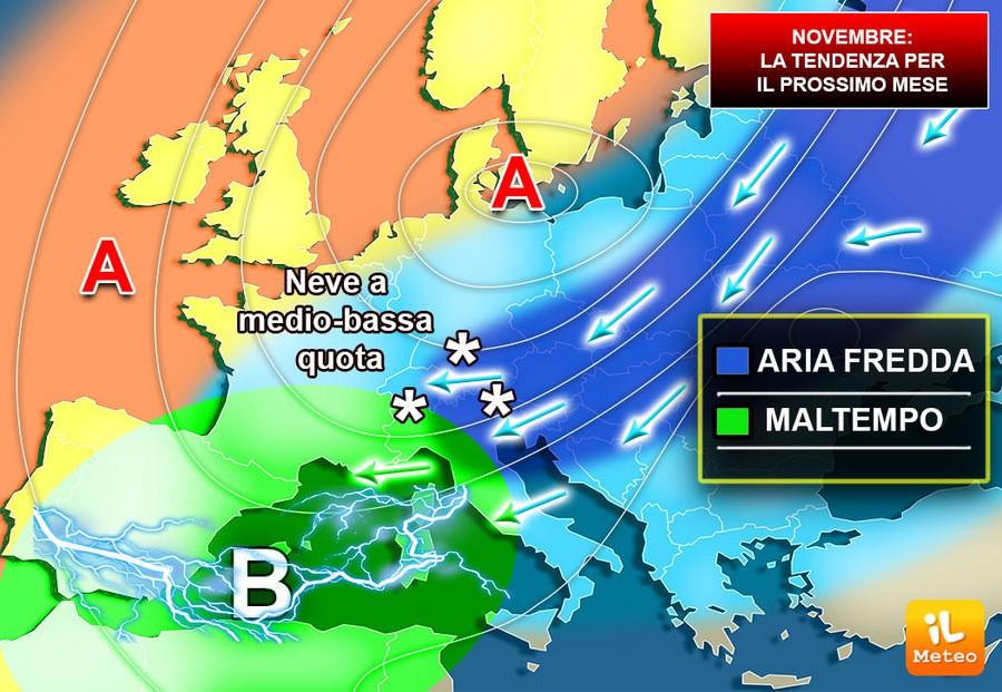 METEO: NOVEMBRE, il prossimo mese sarà autunnale o invernale? Vi diciamo dove pioverà di più