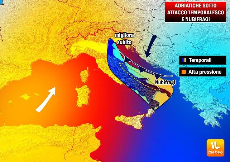 Maltempo in arrivo sulle Adriatiche