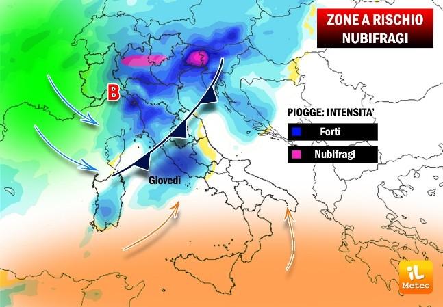 Nubifragi previsti attraverso la nostra mappa tecnica, esclusiva de iLMeteo