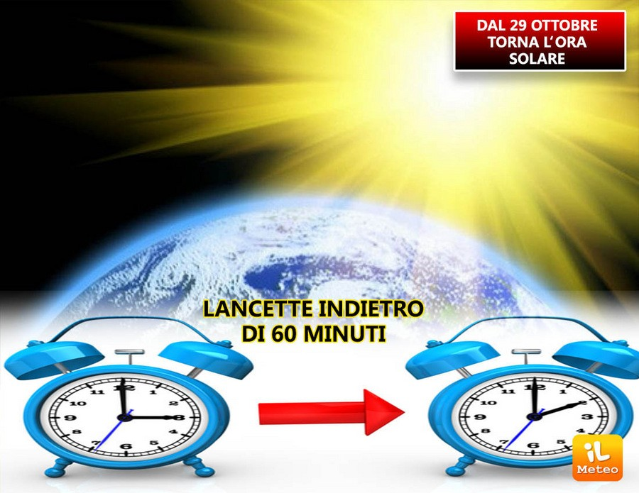 Ora solare, lancette indietro Domenica 29 Ottobre
