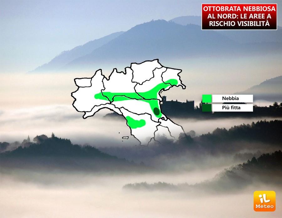 Ottobrata romana sull'Italia, ma al Nord tornano le nebbie. Ecco dove