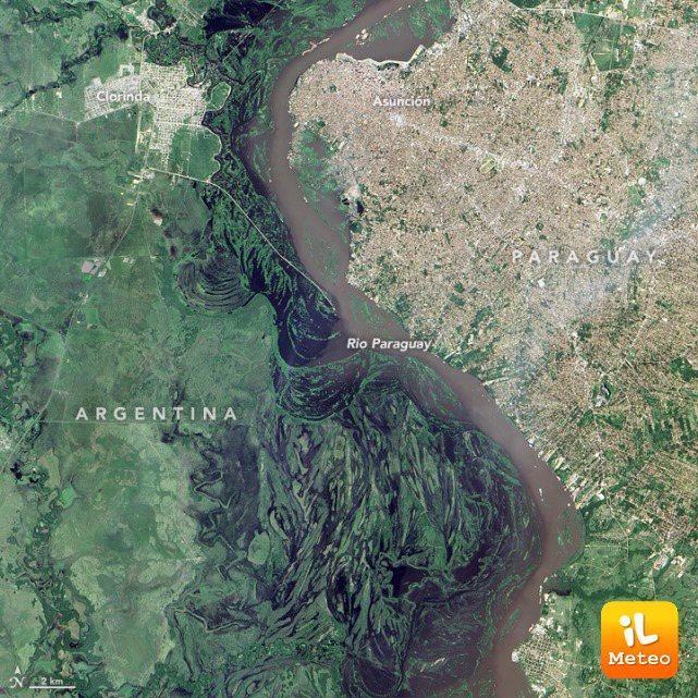 Il fiume Paraguay visto dal satellite