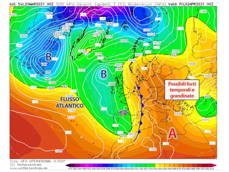 Pasqua: affondi in discesa dal Nord atlantico con possibili temporali al Centro Nord