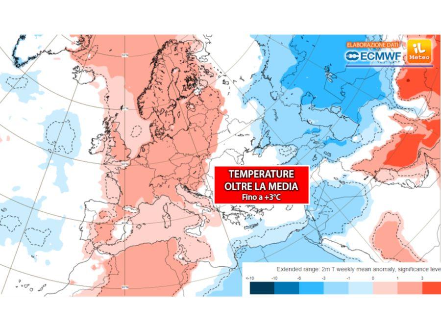 Caldo anomalo: temperature oltre la media fino a +3°C
