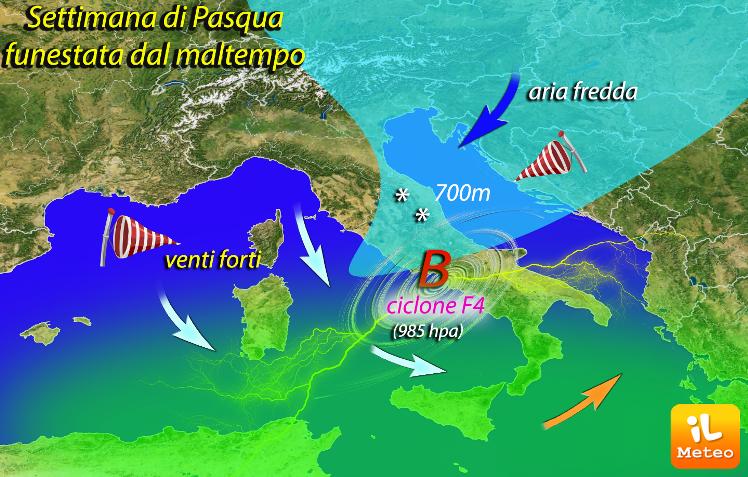 Settimana di Pasqua funestate da un ciclone di Forza 4