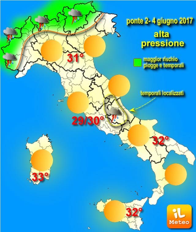 Condizoini di massima dello stato del tempo sull'Italia con termiche per il ponte del 2 Giugno