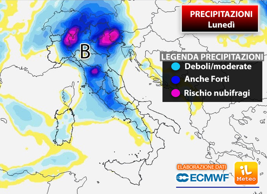 Lunedì 21: in viola/blu le zone a rischio nubifragio