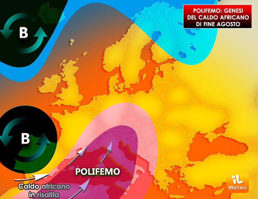 Notare la falla iberica (B) nei pressi della Spagna