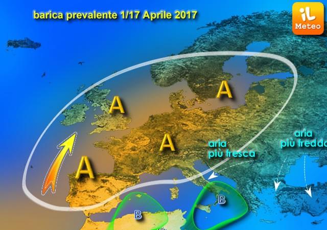 Possibile circolazione barica prevalente per la prima parte di Aprile 2017