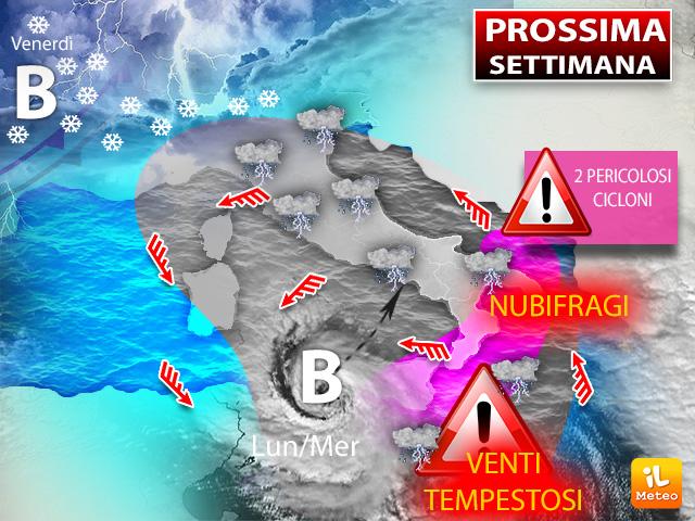 Prossima settimana: in arrivo due pericolosi cicloni sull'Italia con maltempo e venti forti