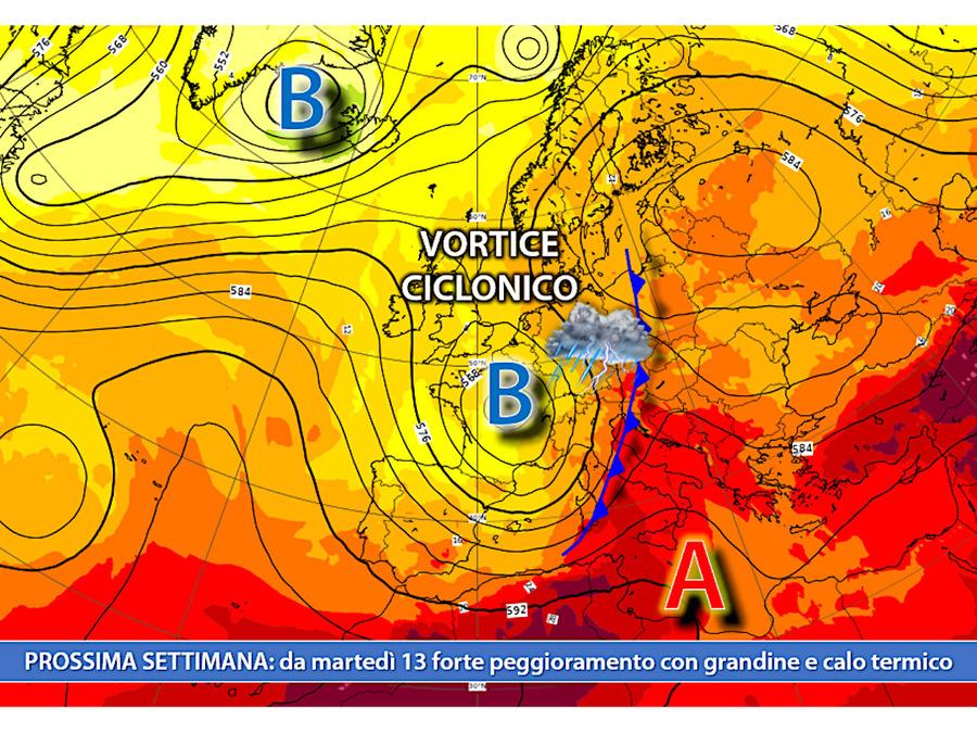 Da martedì 13 luglio: goccia fredda sospinta da aria polare marittima
