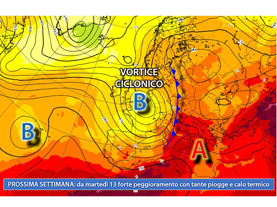 Da martedì 13 luglio: vortice ciclonico guidato dall'aria marittima polare