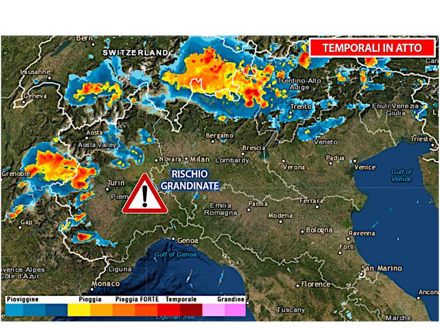 Il radar meteorologico mostra i tanti temporali in atto