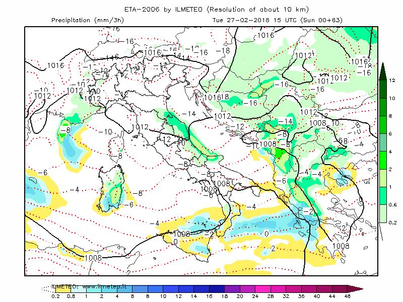 Mappa esclusiva del modello Eta-Zeus, in verde le nevicate previste per la mattina di Martedì 27