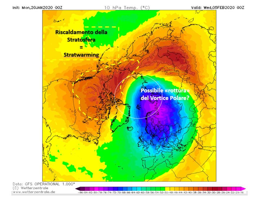 Possibile stratwarming (riscaldamento della stratosfera) nel prossimo mese di febbraio
