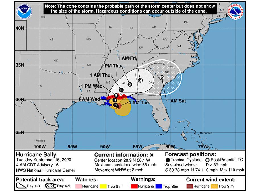 Uragano Sally sul Golfo del Messico, impatto imminente verso New Orleans