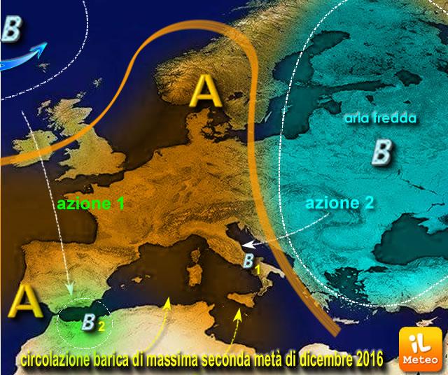 Scenario barico medio per la terza decade di Dicembre e, a grandi linee, per tutto l'inverno