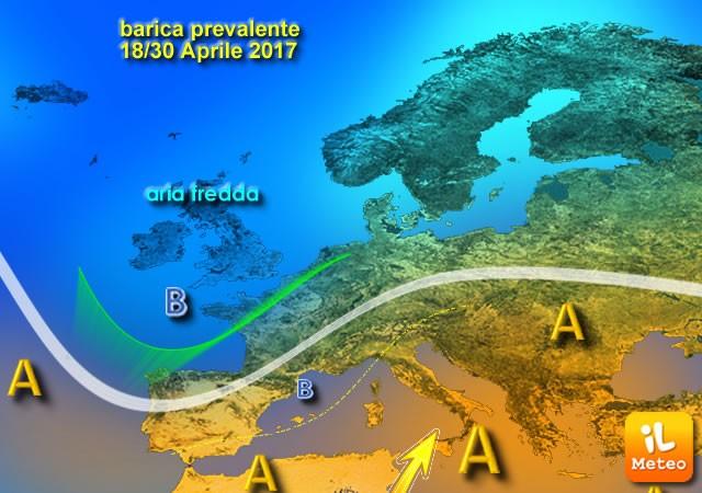 Possibile circolazione barica prevalente per la seconda parte di Aprile 2017