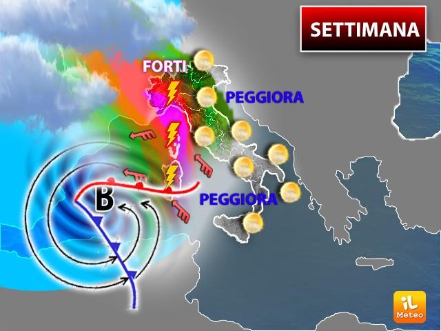 Per metà settimana avremo cali di temperature e forti piogge: ecco dove