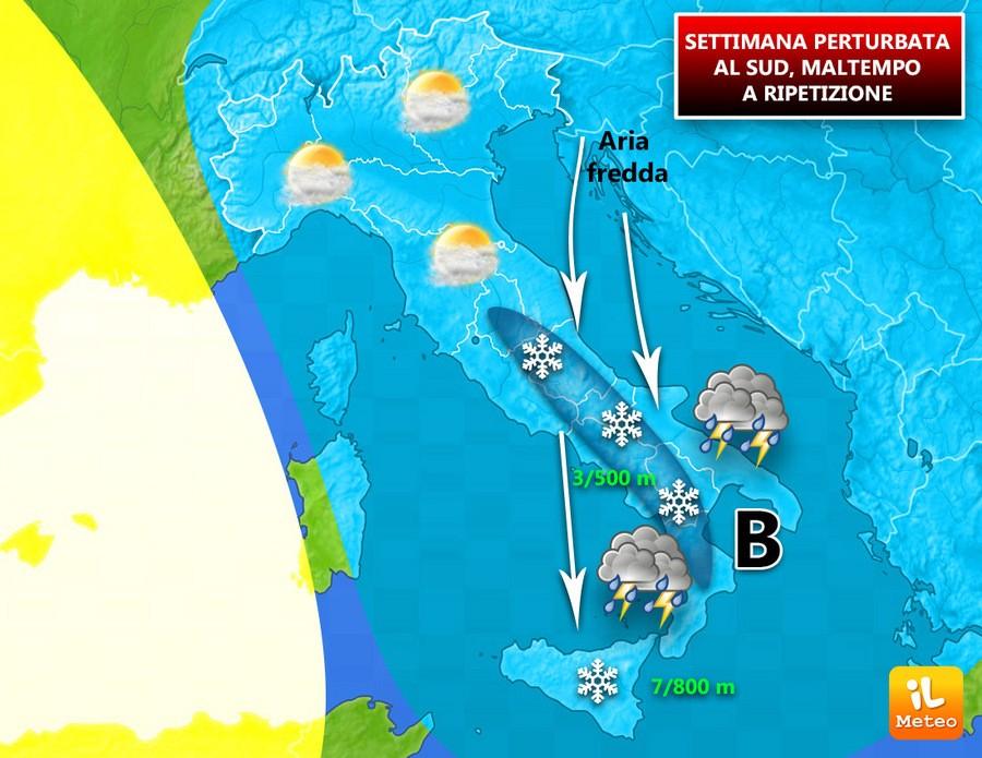 Italia divisa in settimana, maltempo a ripetizione al Sud