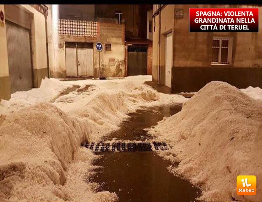 Spagna, forte grandinata nella città di Teruel