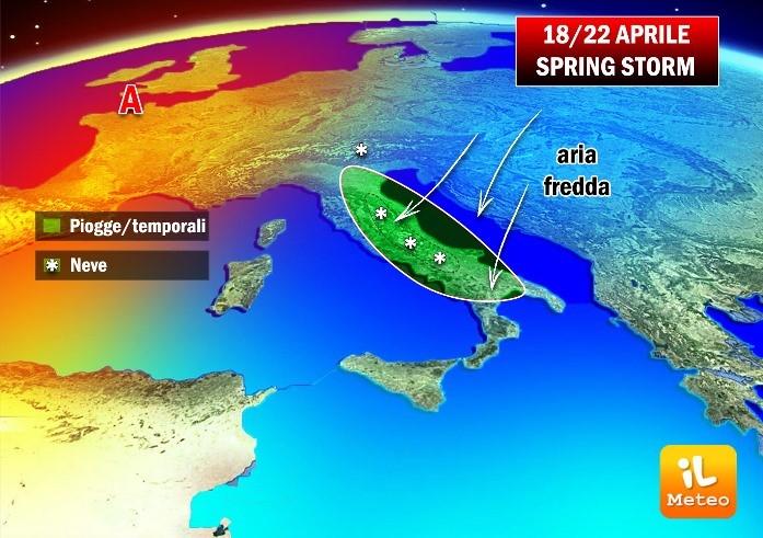 Meteo: da mercoledì 19 aprile temporali con freddo, neve, vento e mareggiate
