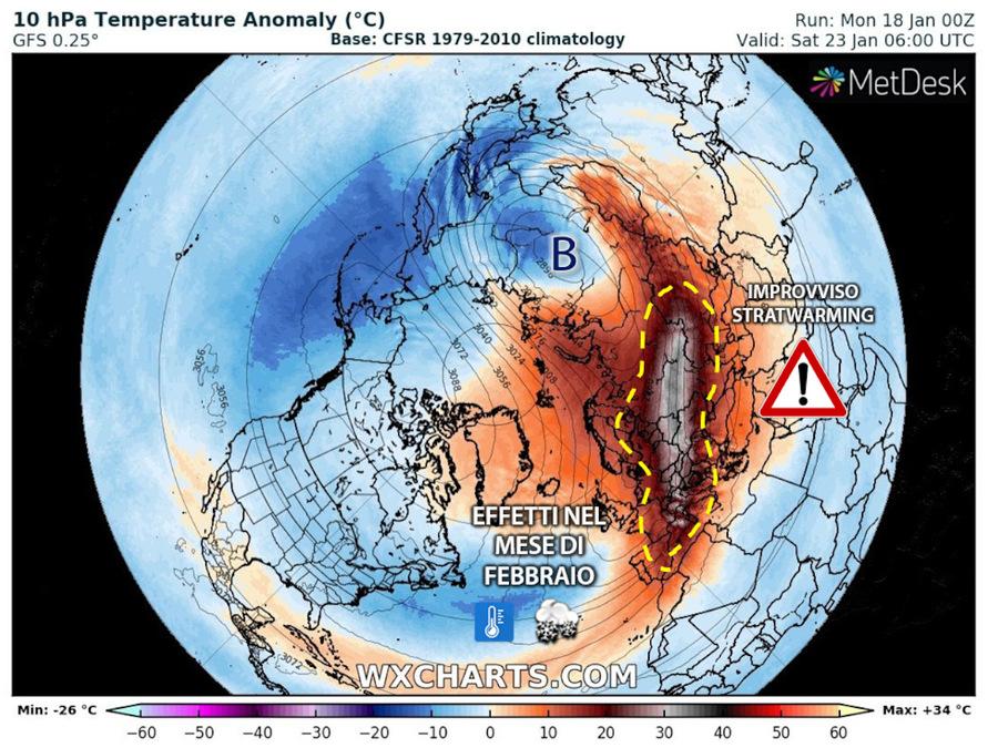 Nuovo Stratwarming: riscaldamento anomalo e inaspettato della stratosfera sopra il Polo Nord