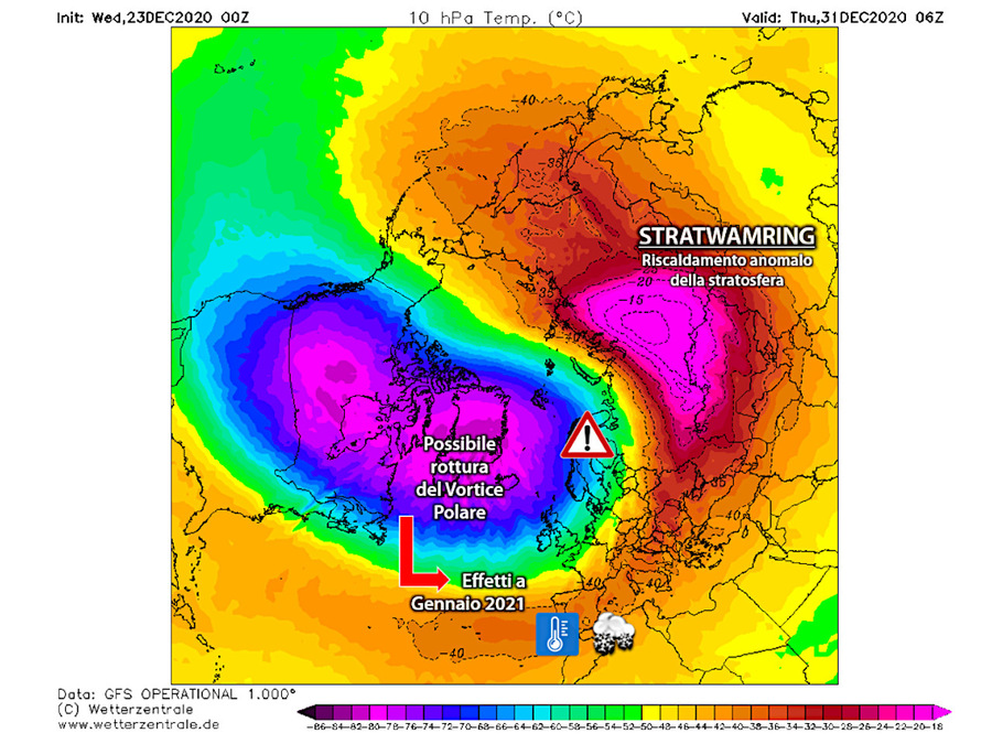 Stratforming: un riscaldamento della stratosfera al Polo Nord
